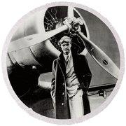Howard Hughes - American Aviator  Round Beach Towel
