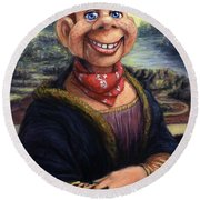 Round Beach Towel featuring the painting Howdy Doovinci by James W Johnson