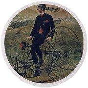 Howe Bicycles Tricycles Vintage Cycle Poster Round Beach Towel