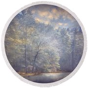 Howe State Park In Winter Round Beach Towel