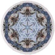 Howling Gray Wolf Kaleidoscope Round Beach Towel
