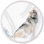 Howling Wolf 1 Round Beach Towel