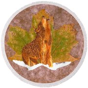 Howling Wolf Round Beach Towel by Ralph Root