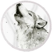 Howling Wolf Watercolor Round Beach Towel