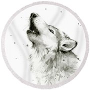Howling Wolf Watercolor Round Beach Towel by Olga Shvartsur