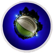 Round Beach Towel featuring the photograph Hoyt Lake At Delaware Park - Tiny Planet by Chris Bordeleau