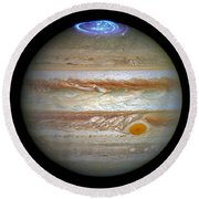 Round Beach Towel featuring the photograph Hubble Captures Vivid Auroras In Jupiter's Atmosphere by Nasa