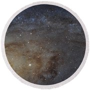 Round Beach Towel featuring the photograph Hubble's High-definition Panoramic View Of The Andromeda Galaxy by Adam Romanowicz