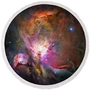 Hubble's Sharpest View Of The Orion Nebula Round Beach Towel