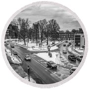 Hudson Falls Business District Round Beach Towel