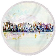 Hudson River View Round Beach Towel