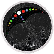 Round Beach Towel featuring the painting Hudson Valley Ufo by James Williamson
