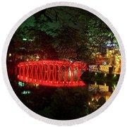 Hue Bridge Hanoi  Round Beach Towel