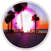 Huge Sun Pine Island Sunset  Round Beach Towel by Expressionistart studio Priscilla Batzell