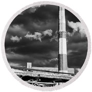 Huge Industrial Chimney And Smoke In Black And White Round Beach Towel