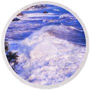 Round Beach Towel featuring the photograph Huge Wave In Ligurian Sea by Silvia Ganora