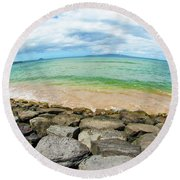 Round Beach Towel featuring the photograph Huge Wikiki Beach by Micah May
