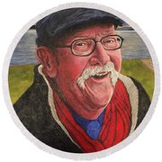 Round Beach Towel featuring the painting Hugh Hanson Davidson by Tom Roderick