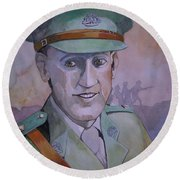 Round Beach Towel featuring the painting Hugo Throssel Vc by Ray Agius