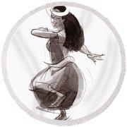Hula Dancer Olina Round Beach Towel