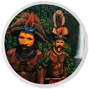 Huli Men In The Jungle Of Papua New Guinea Round Beach Towel