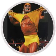 Hulk Hogan Oil On Canvas Round Beach Towel