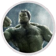 Hulk Oil Pastel Sketch Round Beach Towel