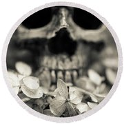 Round Beach Towel featuring the photograph Human Skull Among Flowers by Edward Fielding