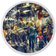 Round Beach Towel featuring the photograph Human Traffic by Wayne Sherriff