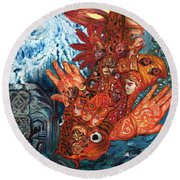 Humanity Fish Round Beach Towel by Emily McLaughlin