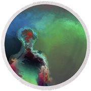 Humanoid In The Fifth Dimension Round Beach Towel