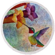 Round Beach Towel featuring the painting Hummer Time by Hailey E Herrera