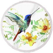Hummibgbird And Yellow Flowers Round Beach Towel