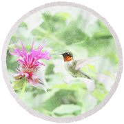 Humming Bird And Bee Balm Round Beach Towel by David Stasiak