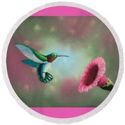 Humming Bird Feeding Round Beach Towel