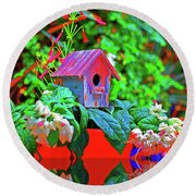 Humming Bird House Round Beach Towel