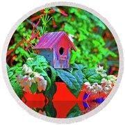 Humming Bird House Round Beach Towel