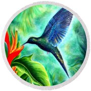 Humming Bird  Round Beach Towel