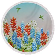Humming Birds Feeding On Wildflowers Round Beach Towel by Jimmie Bartlett