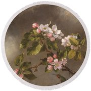 Round Beach Towel featuring the painting Hummingbird And Apple Blossoms by Martin Johnson Heade