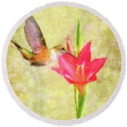 Round Beach Towel featuring the digital art Hummingbird And Flower by Christina Lihani