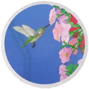 Hummingbird And Petunias Round Beach Towel