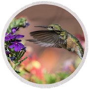 Hummingbird And Purple Flower Round Beach Towel