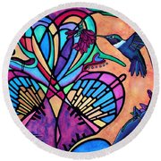 Hummingbird And Stained Glass Hearts Round Beach Towel by Lori Miller