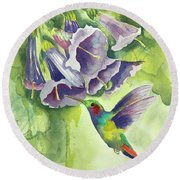 Hummingbird And Trumpets Round Beach Towel