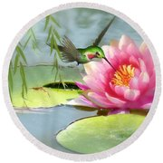 Hummingbird And Water Lily Round Beach Towel