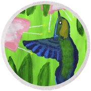 Round Beach Towel featuring the painting Hummingbird by Artists With Autism Inc