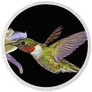 Hummingbird Art Round Beach Towel