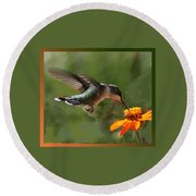 Hummingbird Art Round Beach Towel