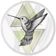 Hummingbird Round Beach Towel by Barlena